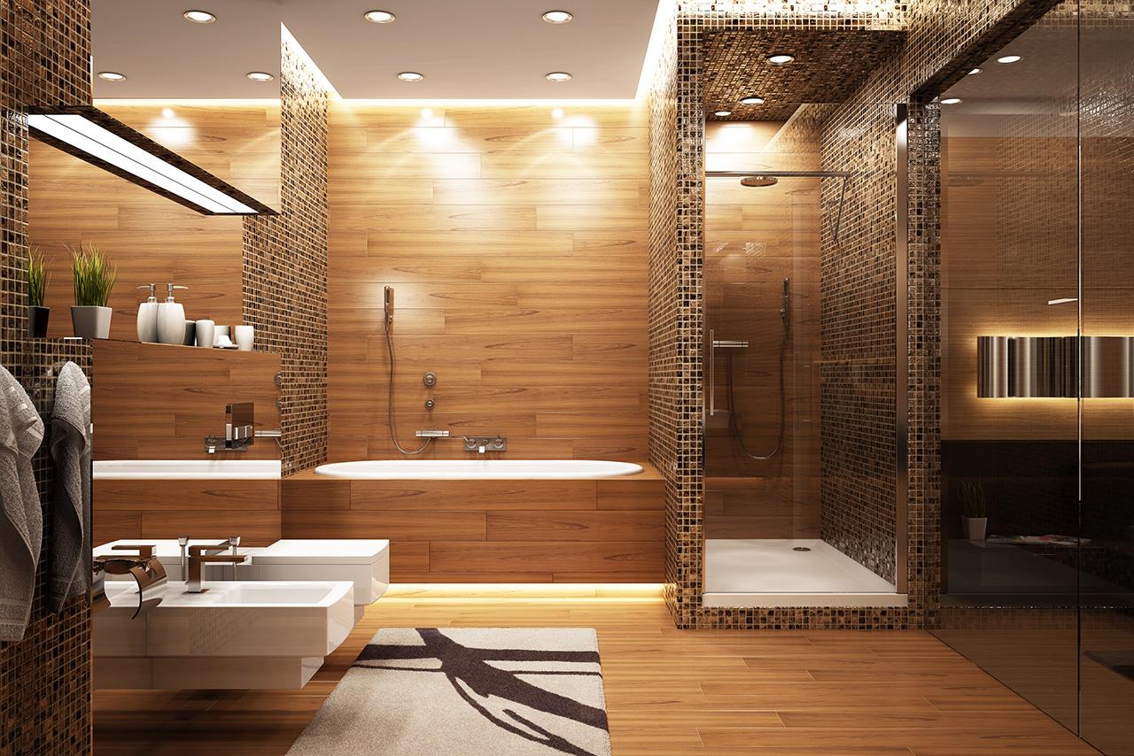 Плитка в ванной под дерево дизайн