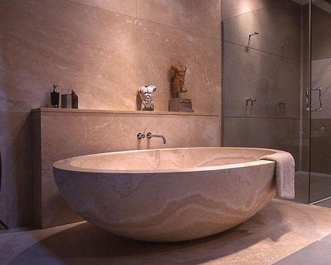 Использование мраморной ванны в дизайне ванной комнаты